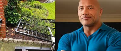 Dwayne-The-Rock-Johnson-rips-front-gate-off-by-himself-to-get-to-work-on-time